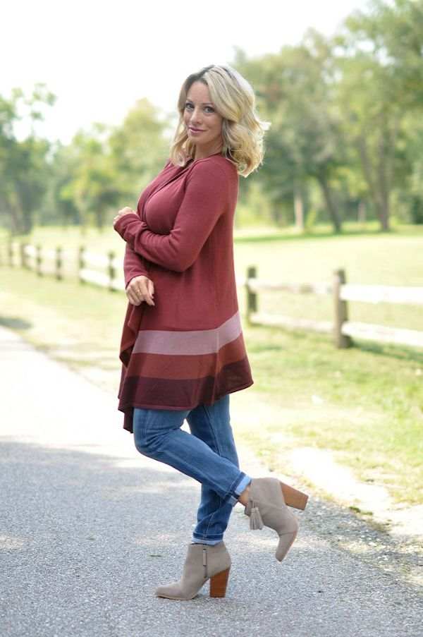 Fall fashion - rolled jeans, wrap cardigan and tassel booties - easy weekend outfit