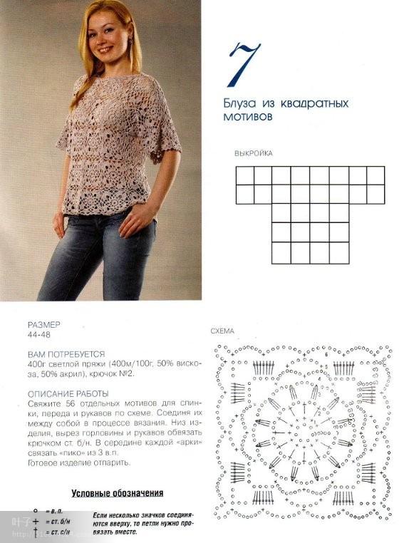 Вязание крючком блузок квадратами