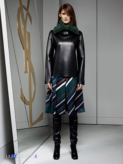 fashion, designer, Yves Saint Laurent, collection, photos, look book, leather, models, over-the-knee boots, leather blouse