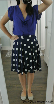 Stitch Fix: Fun2Fun Janina Split Neck Tulip Sleeve Blouse and Pixley Hanneli Polka Dot Swing Skirt