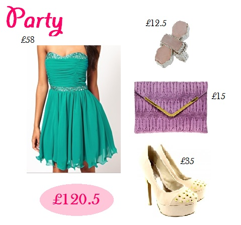 Party outfit, teal dress