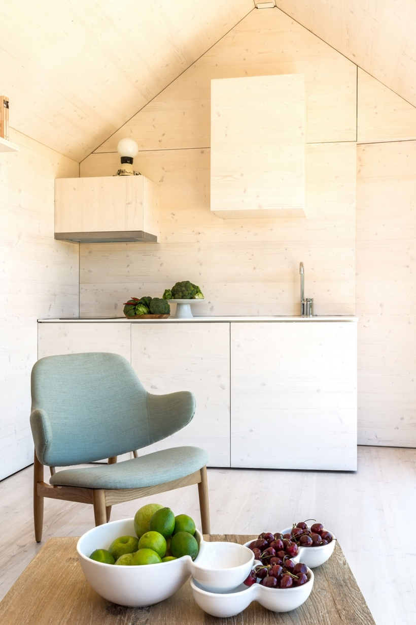 Kitchen area in a portable home