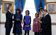 The Obama family (POTUS being sworn in)