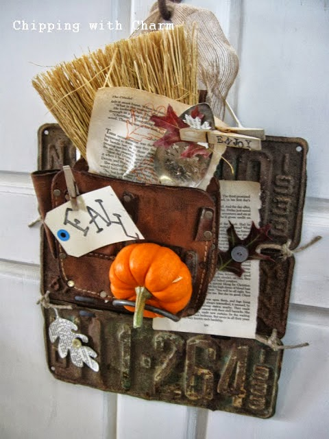 Chipping with Charm: Fall Door Decor 2013...http://chippingwithcharm.blogspot.com/
