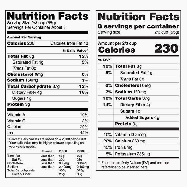 new and old nutritional labels