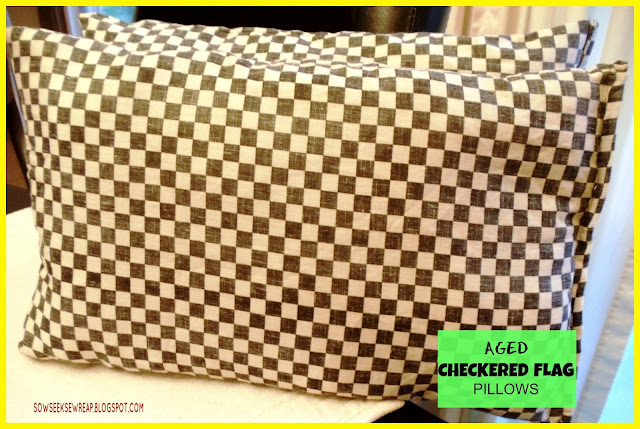 aged pillows, coffee staining, checkered flag, checkered flag pillows