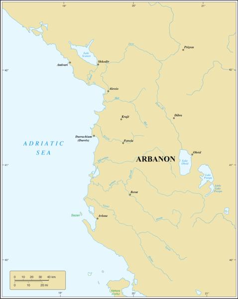 Location of Arbanon in 11th century.