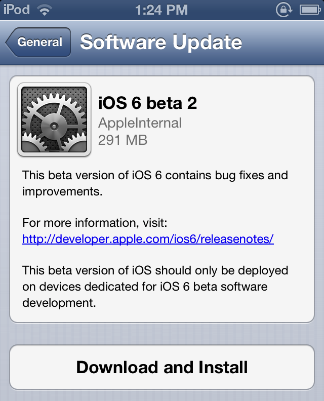 Install iOS 6 Beta 2