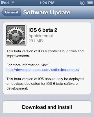 Install iOS 6 Beta 2