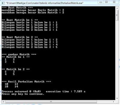 Program Perkalian Matrik (Ordo Dinamis) dalam Bahasa C