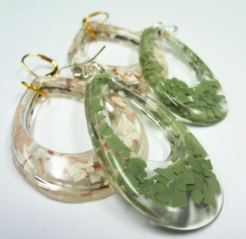 resin crafts fragment earrings with jewelry resin