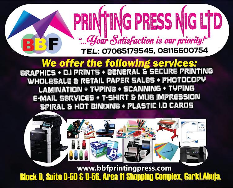 BBF PRINTING PRESS NIG