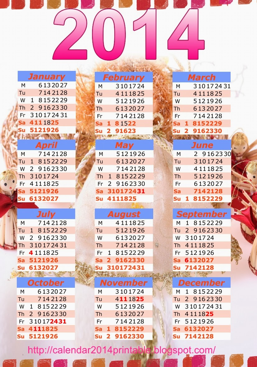Pocket calendar 2014 template free , Printable Calendar 2014, Blank Calendar 2014, Download