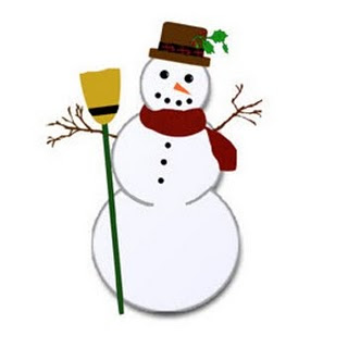 Snowman in the snow of Christmas clip art photo