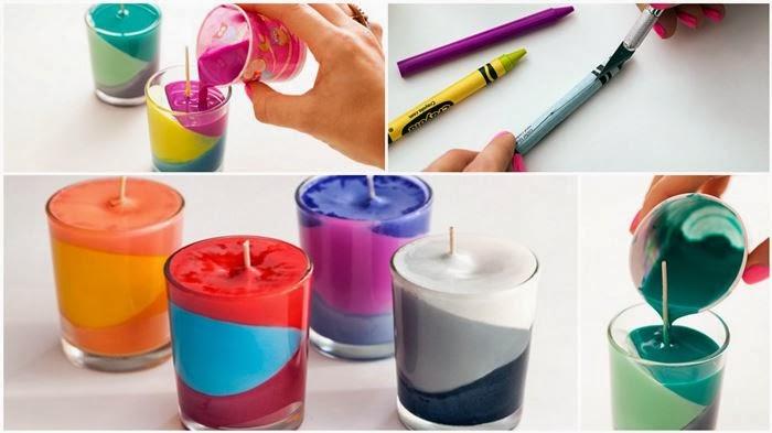 Magnificas velas hechas con crayolas manualidades para - Manualidades para hogar ...