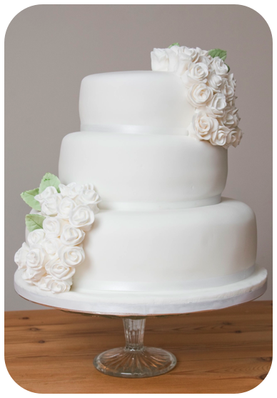Three Tier Simple White Sugar Rose Wedding Cake by Vintage Cake