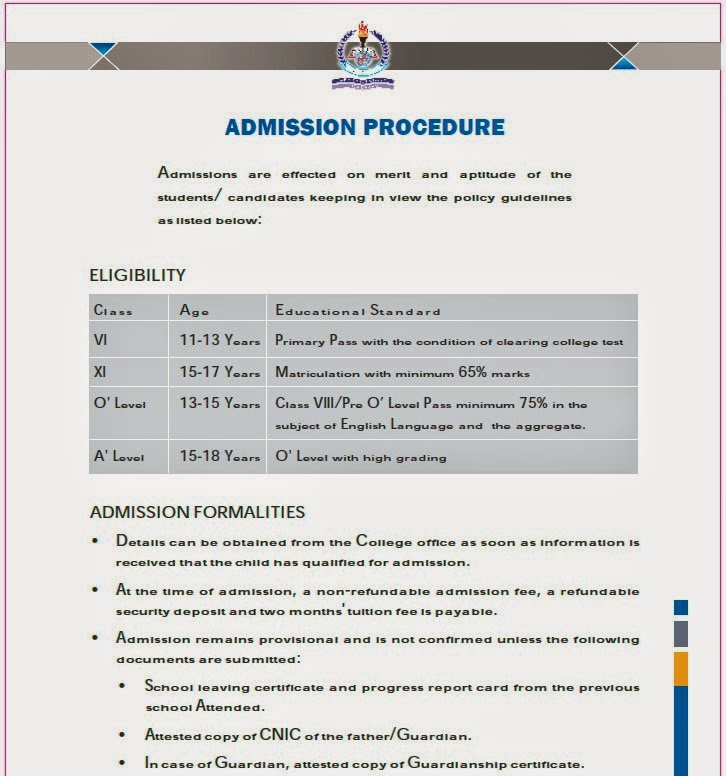 opf college admissions procedure