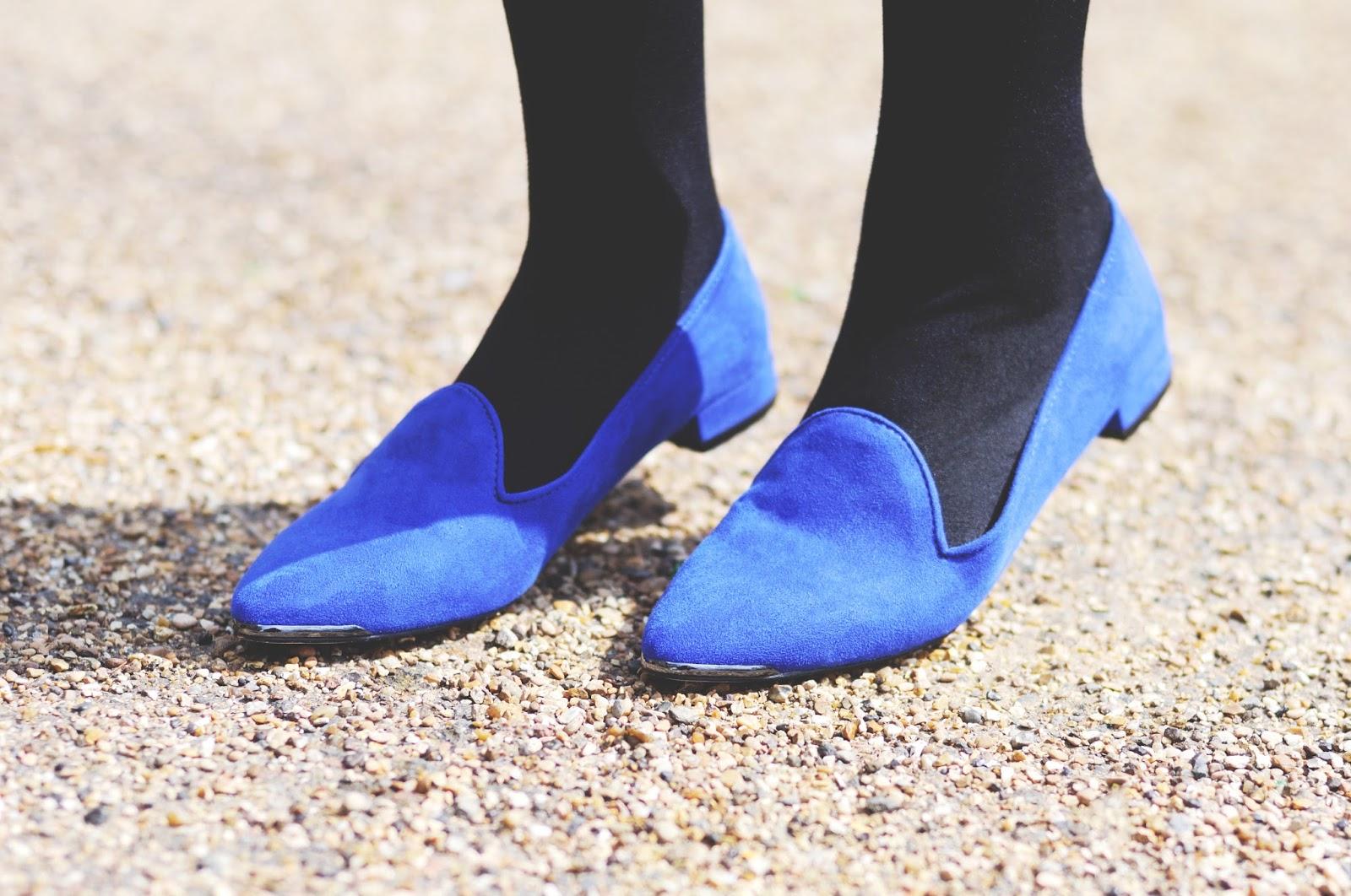 Show to style cobalt blue, cobalt blue shoes, carvela smoking slippers