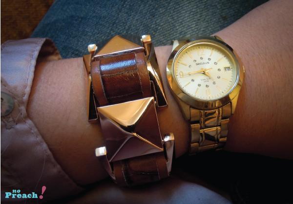 Acessórios bracelete de couro relogio dourado