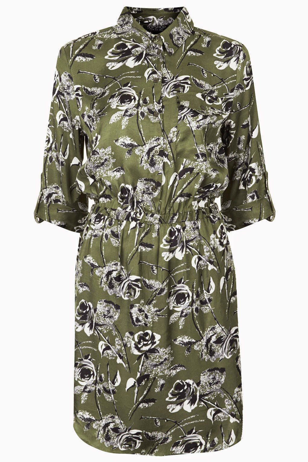 khaki printed shirt dress