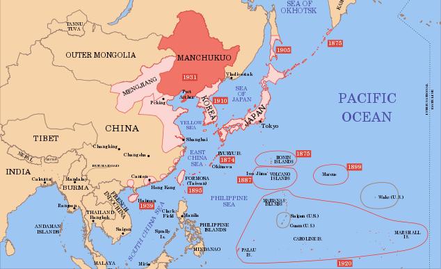 Manchukuo en el mapa de China