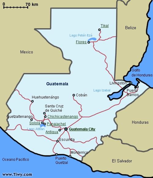 Mapa físico de Guatemala