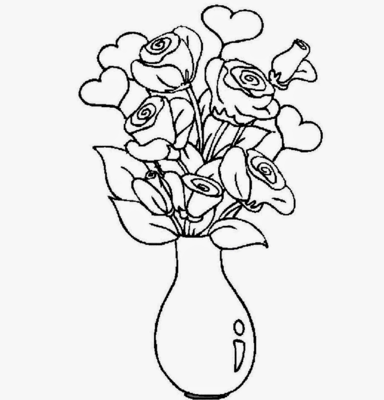 Flowers Easy to Draw Colored Flowers Vase Coloring Drawing