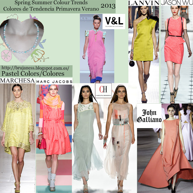 Pastel. Spring summer Colour trends Colores de tendencia primavera verano 2013 Pasarela Catwalk marchesa marc jacobs carolina herrera john galliano v&l lanvin jason wo