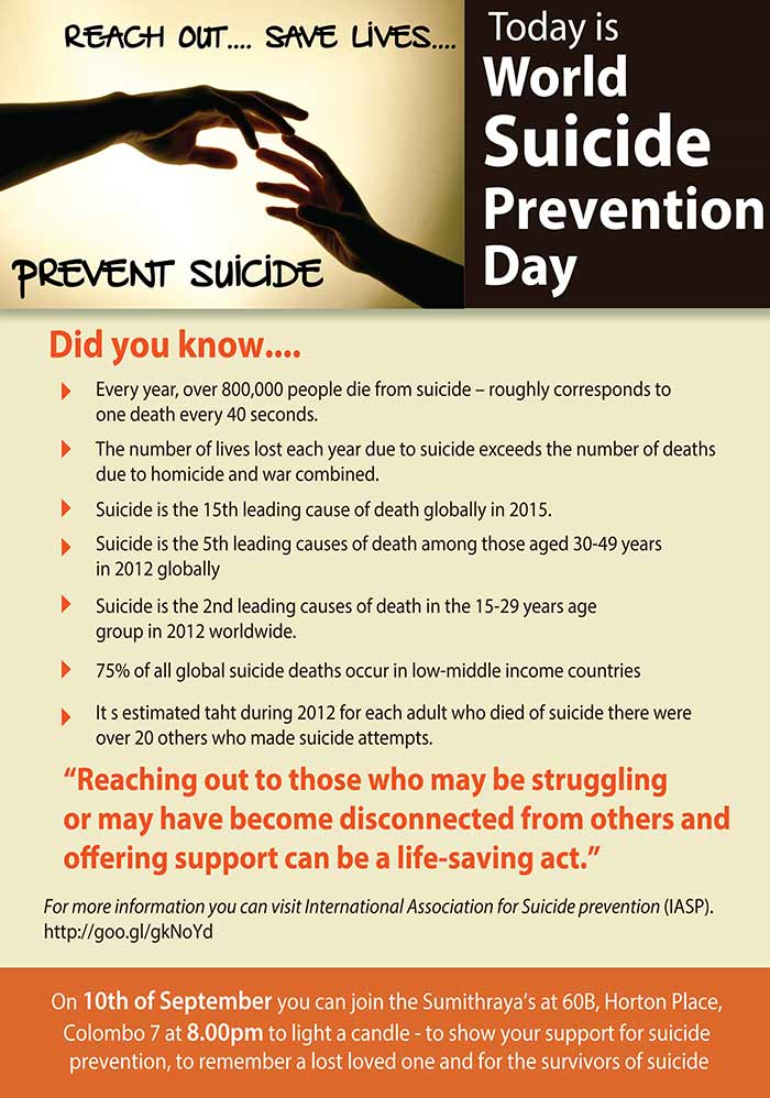 Today is World Suicide Prevention Day.