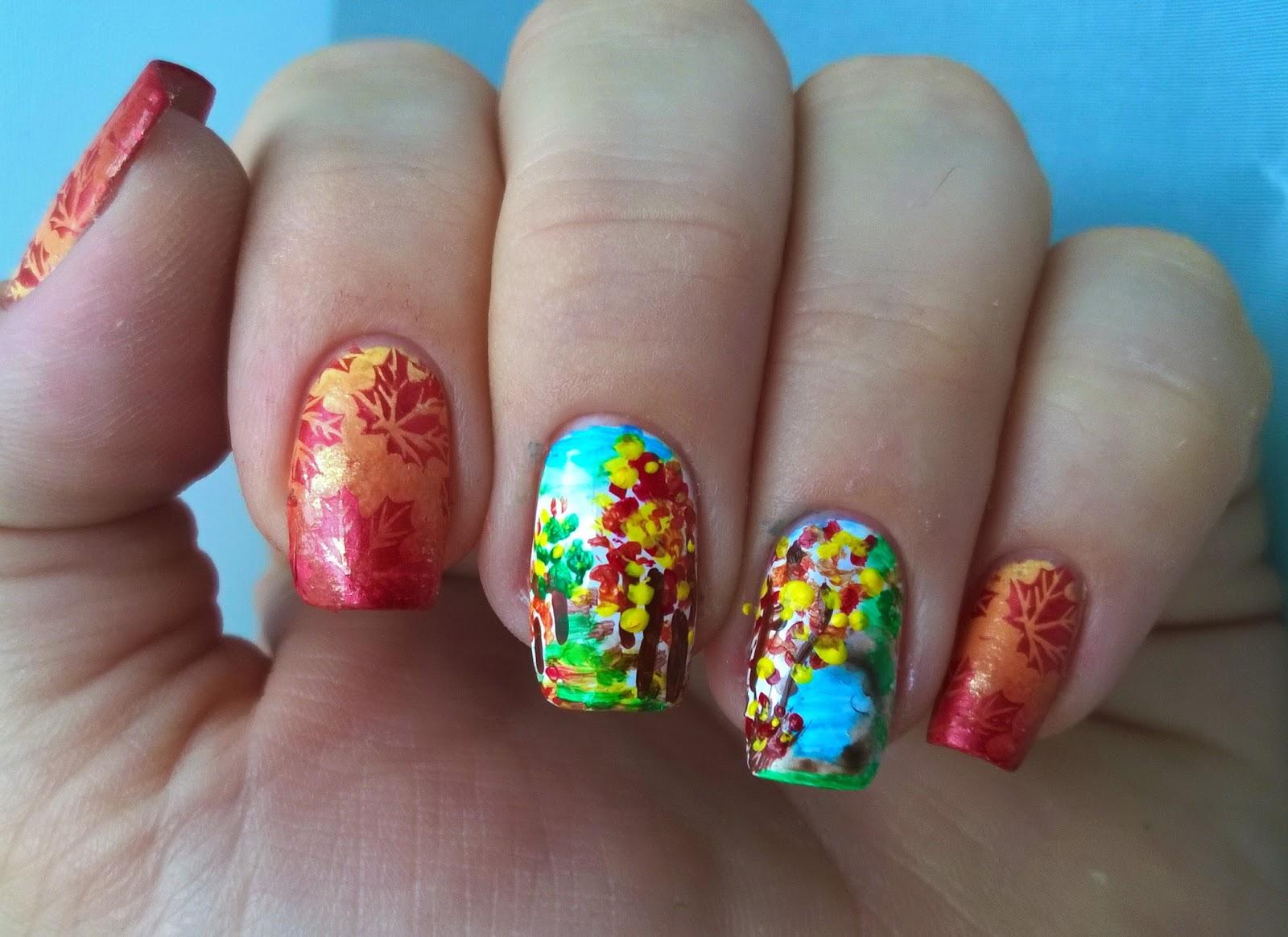 Маникюр на короткие ногти осень