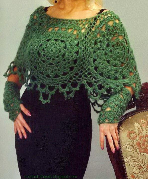 Free Crochet Poncho Patterns : Crochet Shawls: Womens Poncho - Crochet Poncho Pattern Free