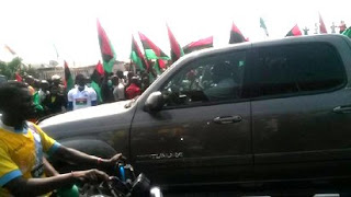 Biafra protest at Alaba International Market in Lagos
