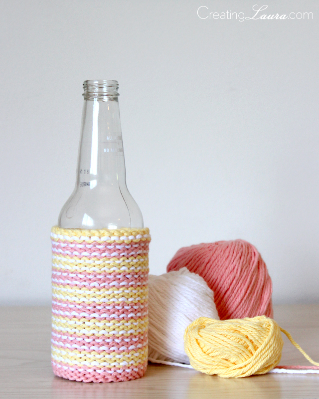 Knit Koozie Pattern : Creating Laura: Purl-Side-Out Beer Cozy Knitting Pattern
