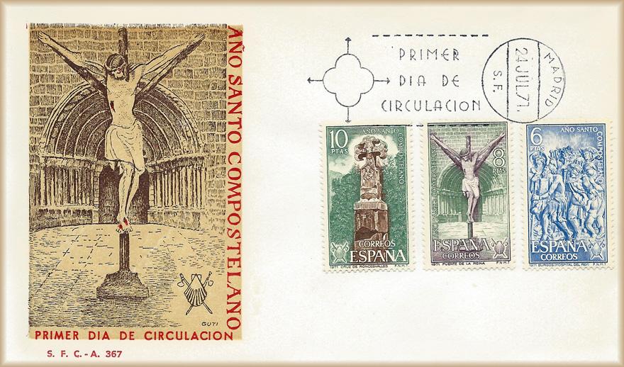Sobre PDC sellos Roncesvalles, Puente la Reina, Burgos