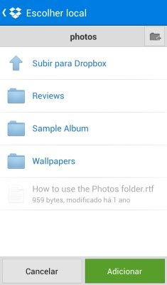 Enviar fotos para o Dropbox - 235x400