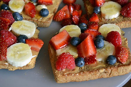 peanut butter toast topped with fruit