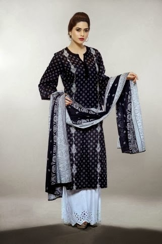 Cream And Black Lawn Suits Collection