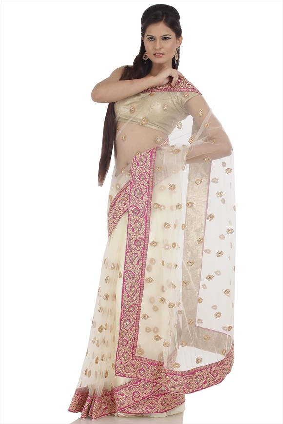Cream Net Saree