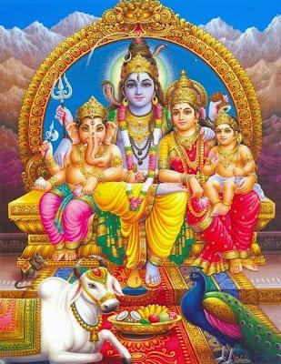 hindu gods shiva parvati children ganesh muruga