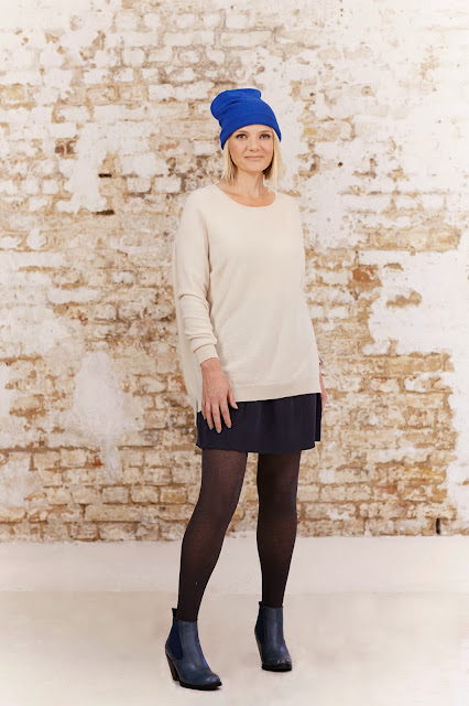 blue beanie, blue ankle boots