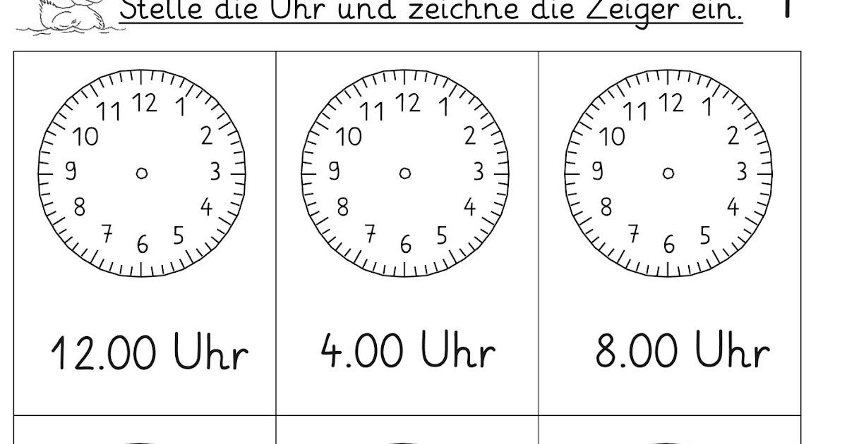 Arbeitsblätter Uhr Ganze Stunden : Lernstübchen vorgegebene uhrzeiten einstellen