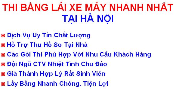 trung tâm sát hạch và thi bằng lái xe máy a1, a2 giá rẻ ở tại Hà Nội & tp.HCM