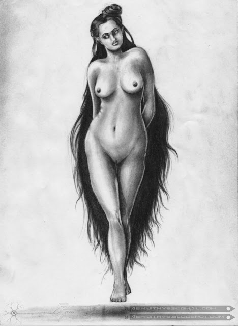 lonh hair art artist pencil drawing draw paper traditional surreal woman lady girl nude naked love  death concept abhijithvb abhijith vb avb india kerala