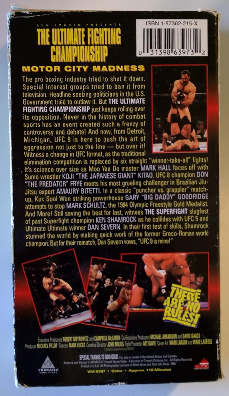 UFC 9: Motor City Madness VHS ...