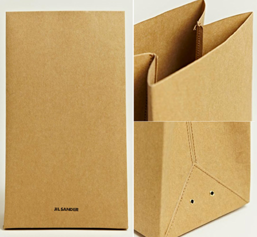 photos of jil sanders expensive treated brown paper bag