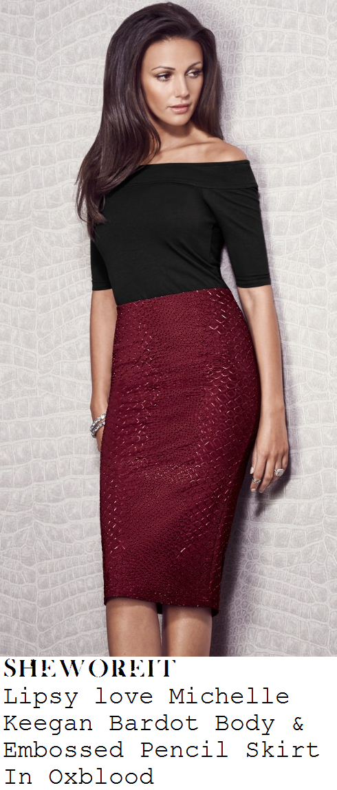 michelle-keegan-black-bardot-off-shoulder-half-sleeve-top-and-oxblood-purple-snakeskin-pencil-skirt