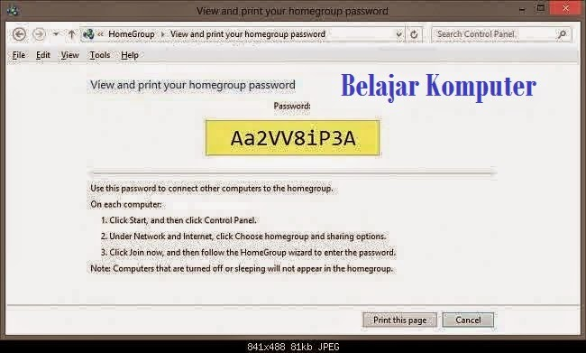 Cara Melihat Password HomeGroup di Windows 8.4