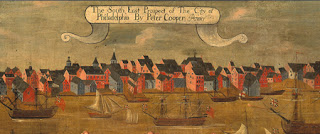 "Detail, Peter Cooper, ""The South East Prospect of the City of Philadelphia,"" ca. 1720. (The earliest painting of a North American city.) Gift of George Mifflin Dallas; The Library Company of Philadelphia"