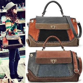 Vintage Stylish Lady Women Messenger Satchel Shoulder Purse Handbag Tote Bag (Black+Brown)