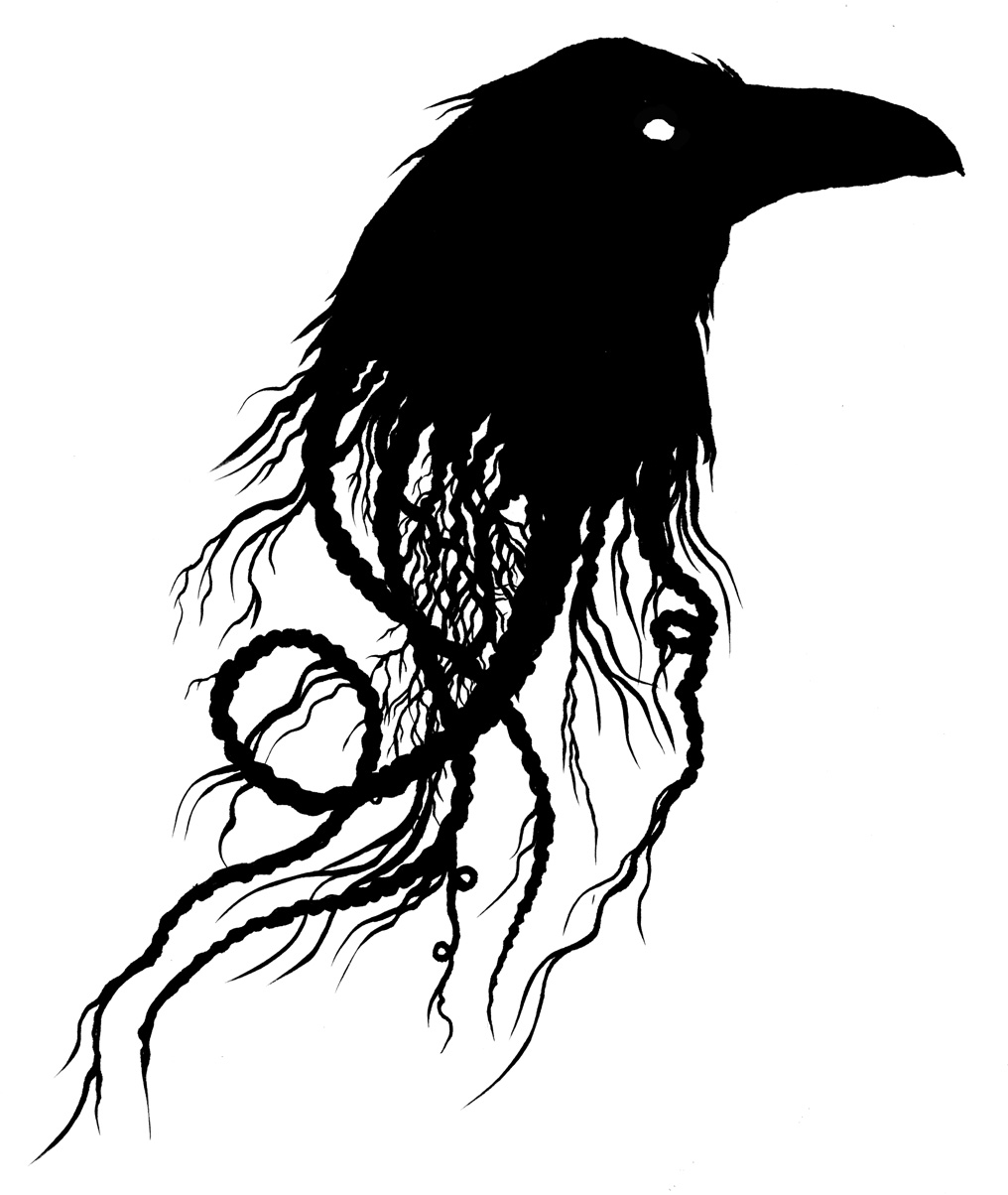 evil flying crow drawing photo1